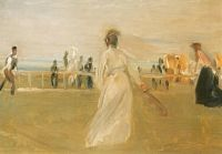 Tennisspieler am Strand, Studie 1901