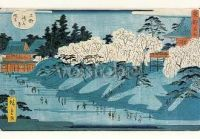 Das schneebedeckte Ufer des Flusses Sumida, mit Kirschblüte. The Snow Covered Banks of the Sumida River, with Cherry Blossom, ca. 1862