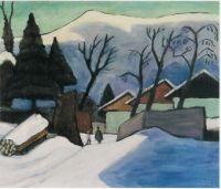 Drei Häuser im Schnee, 1933