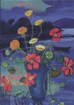Blumenstilleben vor Landschaft, 1934