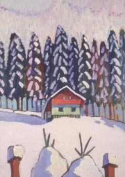 Haus mit Tannen im Schnee, 1942