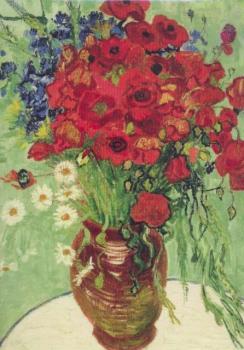 Vase mit Margeriten und Mohnblumen, 1890