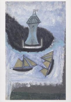 Lighthouse and Two Sailing Ships. Leuchtturm und zwei Segelschiffe, undatiert