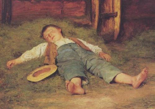 Schlafender Knabe im Heu. Garcon dormant dans le foin, 1897